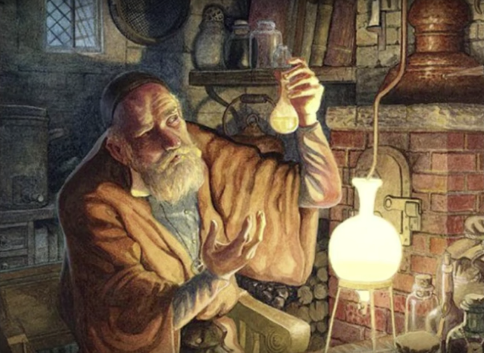 The alchemist in his lab turning common materials into valuable and rare elements